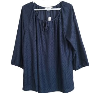 Penningtons In Every Story Blue Textured Boho Top